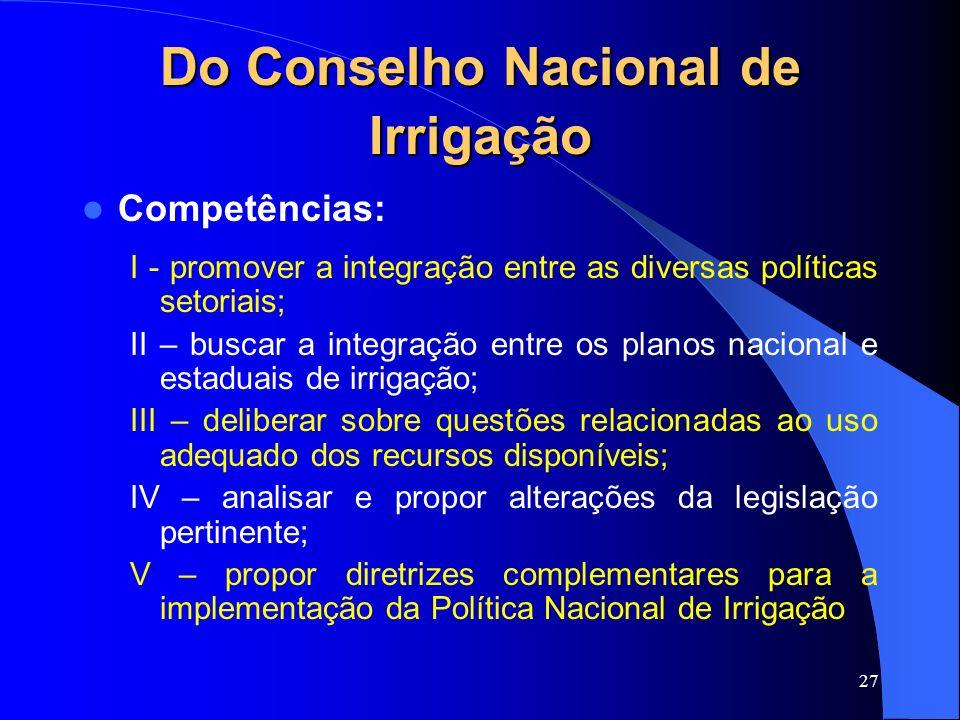 Do Conselho Nacional de Irrigação