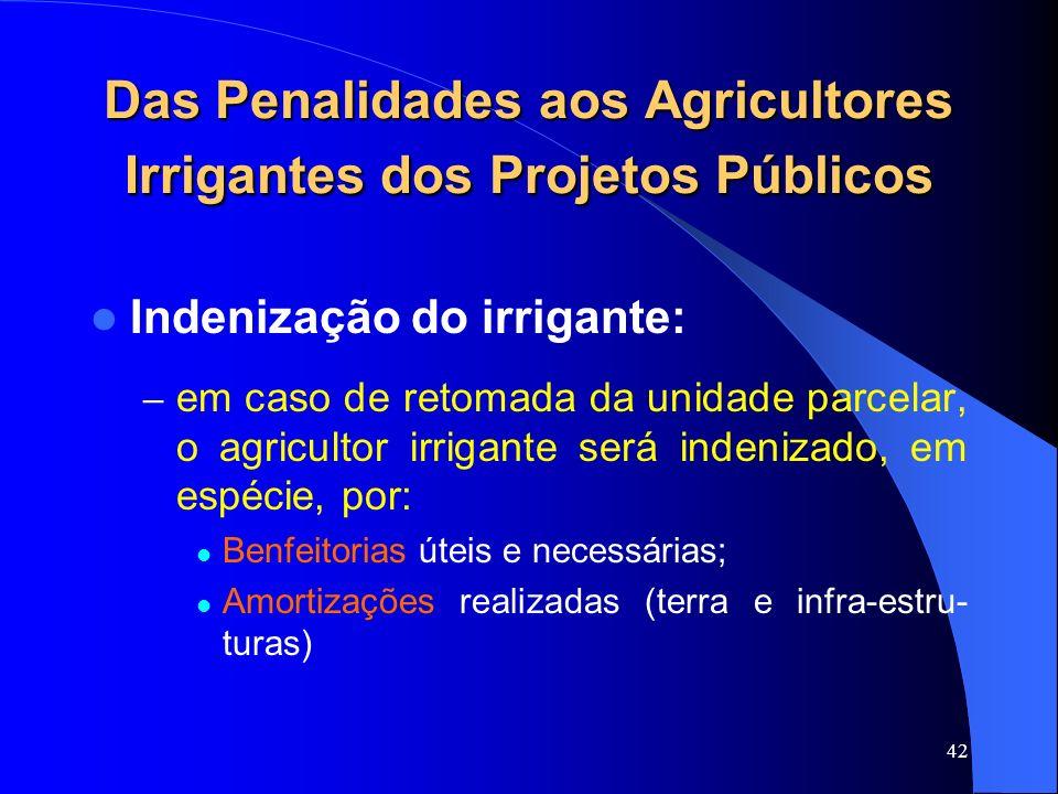 Das Penalidades aos Agricultores Irrigantes dos Projetos Públicos