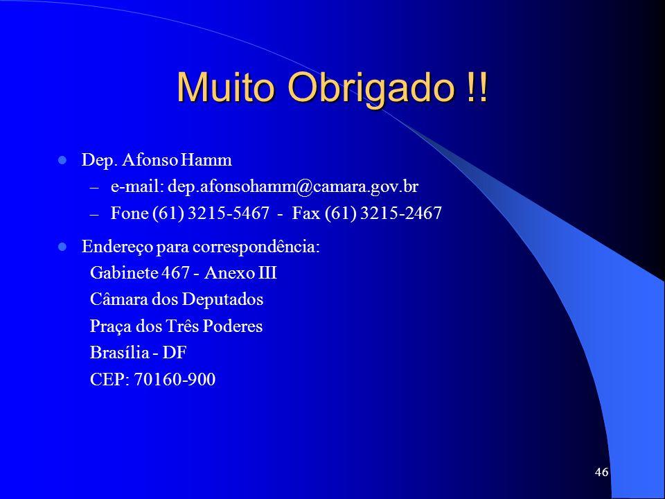 Muito Obrigado !! Dep. Afonso Hamm