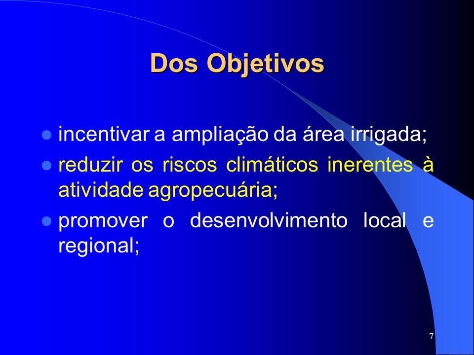 Dos Objetivos incentivar a ampliação da área irrigada;