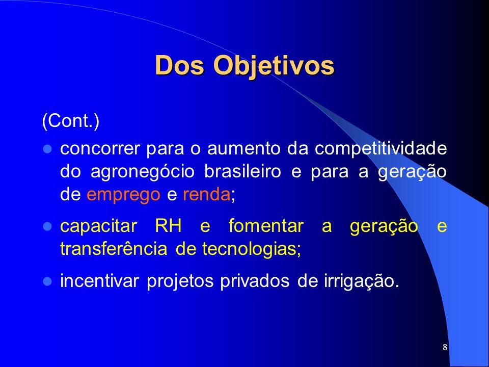 Dos Objetivos (Cont.) concorrer para o aumento da competitividade do agronegócio brasileiro e para a geração de emprego e renda;