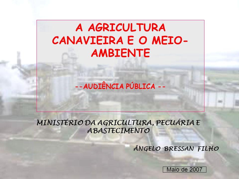 A AGRICULTURA CANAVIEIRA E O MEIO-AMBIENTE