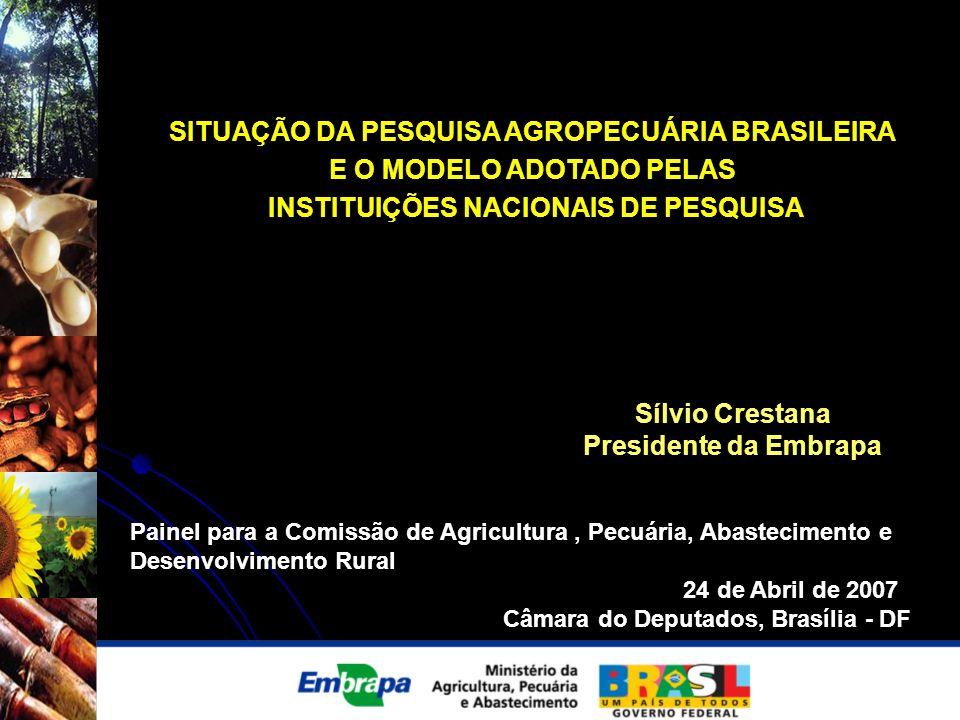 SITUAÇÃO DA PESQUISA AGROPECUÁRIA BRASILEIRA E O MODELO ADOTADO PELAS