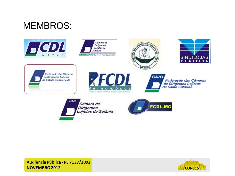 MEMBROS: Audiência Pública - PL 7137/2002 NOVEMBRO 2012