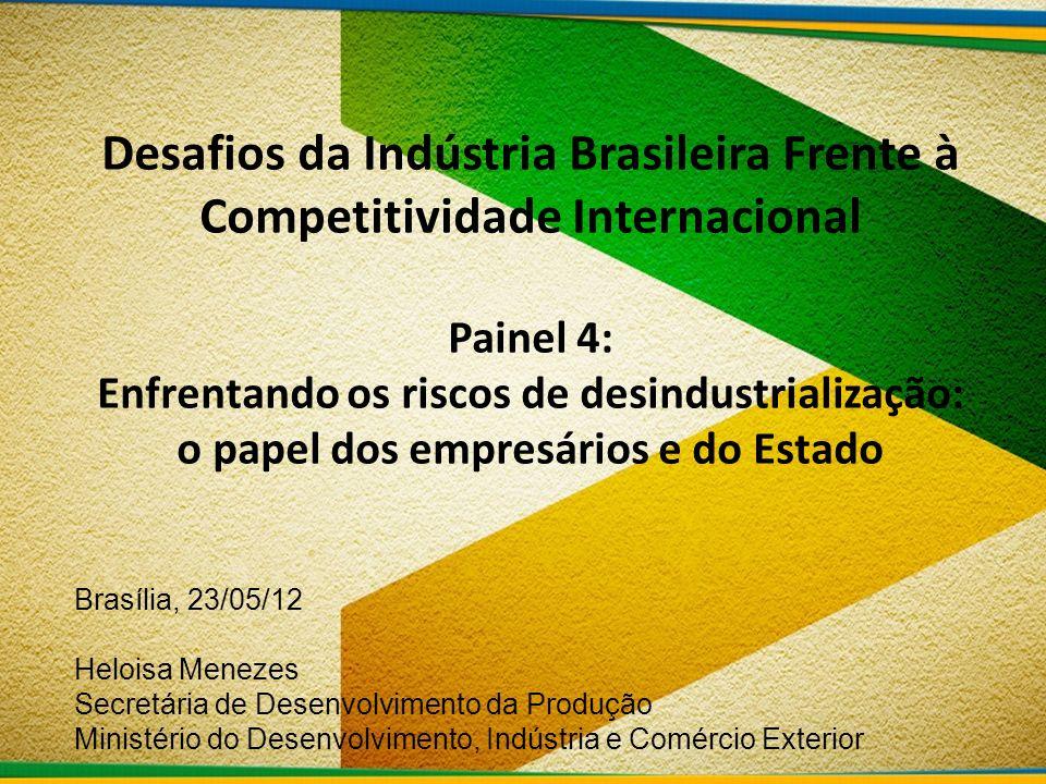 Desafios da Indústria Brasileira Frente à Competitividade Internacional Painel 4: Enfrentando os riscos de desindustrialização: o papel dos empresários e do Estado