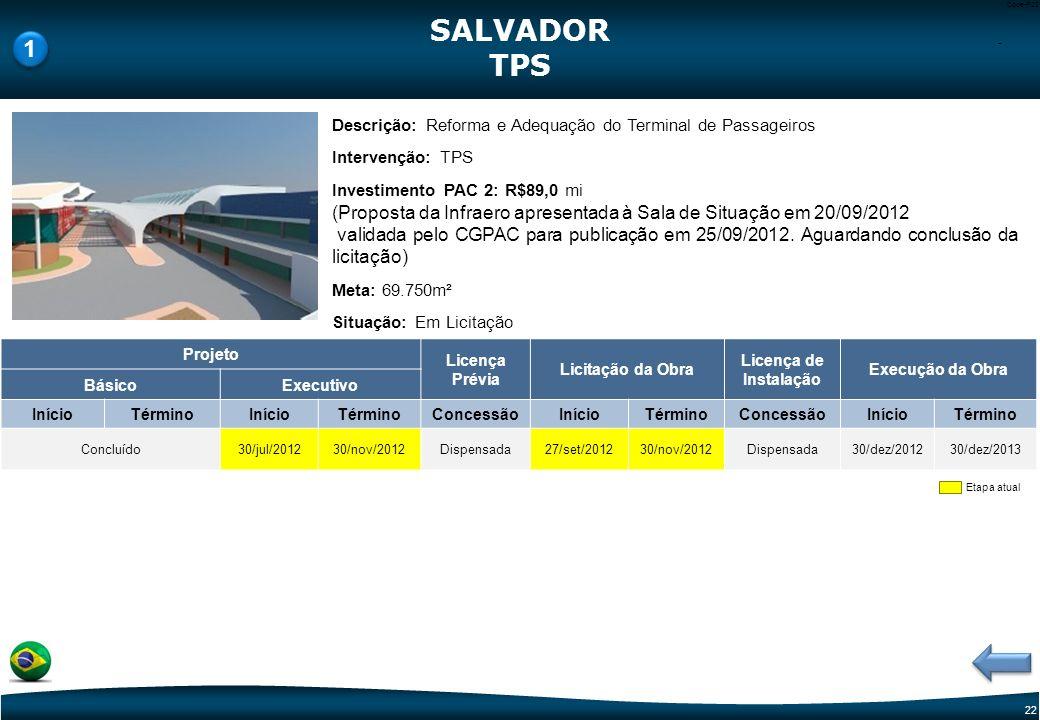 SALVADOR TPS. 1. - Descrição: Reforma e Adequação do Terminal de Passageiros. Intervenção: TPS.
