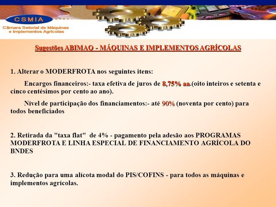 Sugestões ABIMAQ - MÁQUINAS E IMPLEMENTOS AGRÍCOLAS