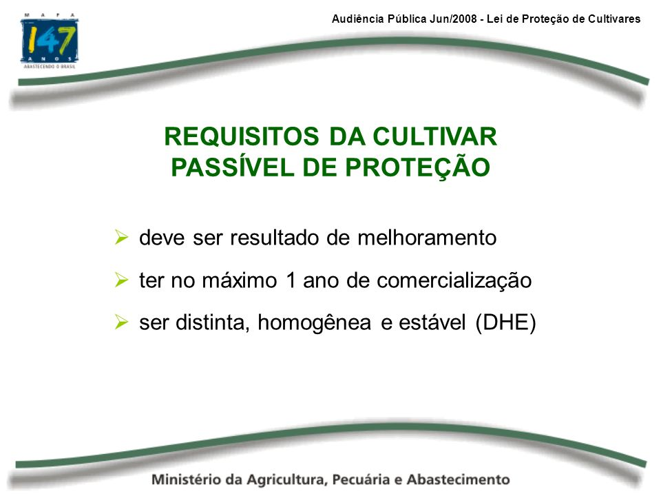 REQUISITOS DA CULTIVAR