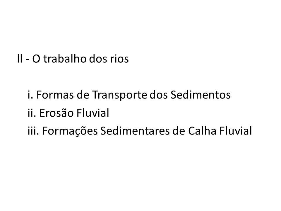 ll - O trabalho dos rios i. Formas de Transporte dos Sedimentos.