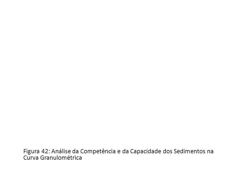 Figura 42: Análise da Competência e da Capacidade dos Sedimentos na Curva Granulométrica