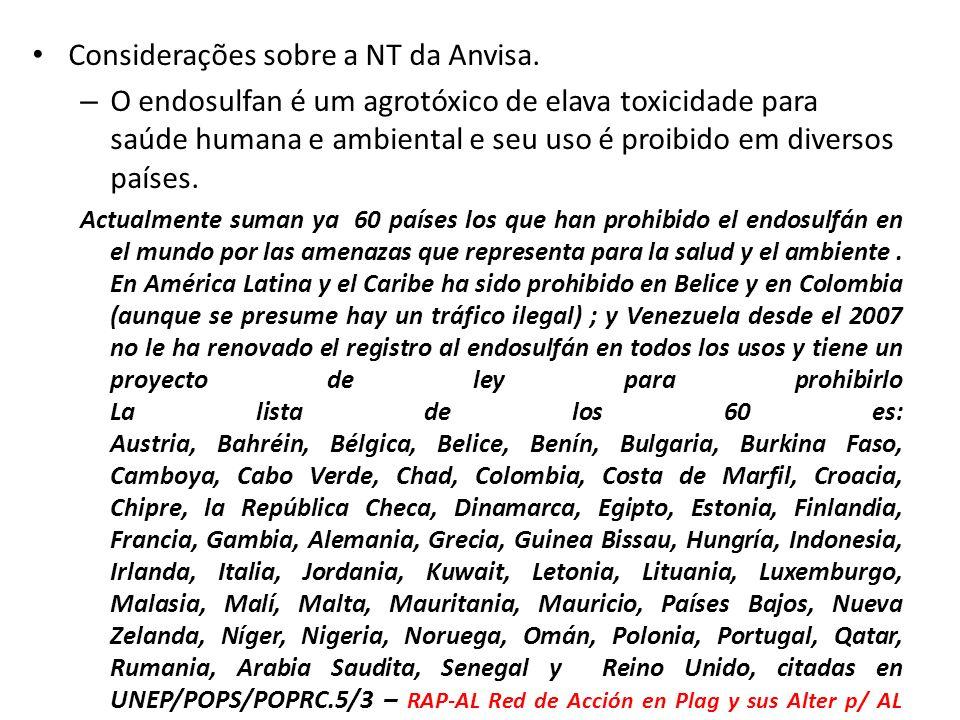 Considerações sobre a NT da Anvisa.