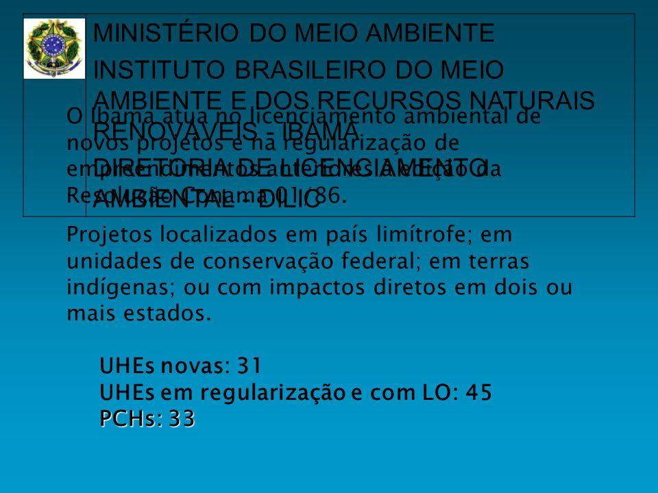 O Ibama atua no licenciamento ambiental de novos projetos e na regularização de empreendimentos anteriores à edição da Resolução Conama 01/86.