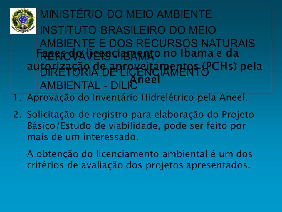 Fases do licenciamento no Ibama e da autorização de aproveitamentos (PCHs) pela Aneel