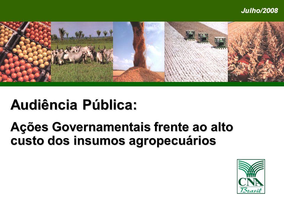 Julho/2008 Audiência Pública: Ações Governamentais frente ao alto custo dos insumos agropecuários