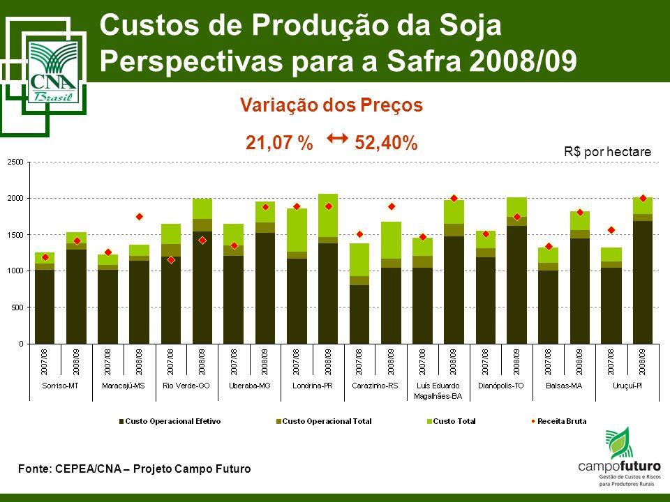Custos de Produção da Soja Perspectivas para a Safra 2008/09