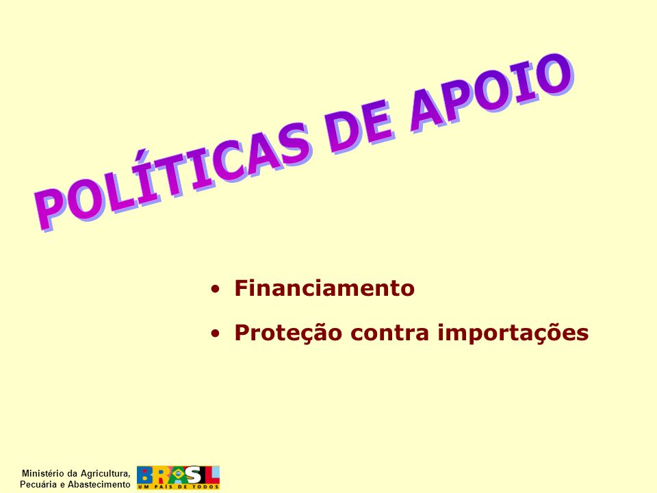 POLÍTICAS DE APOIO Financiamento Proteção contra importações