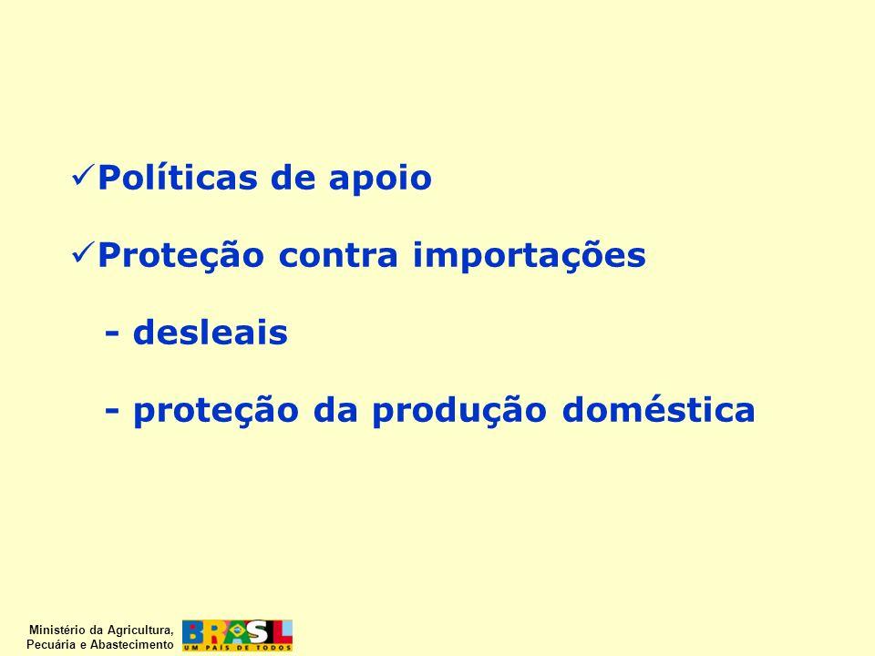Políticas de apoio Proteção contra importações - desleais - proteção da produção doméstica