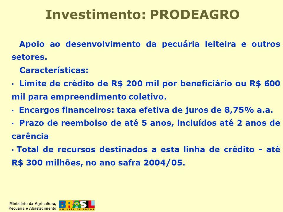 Investimento: PRODEAGRO