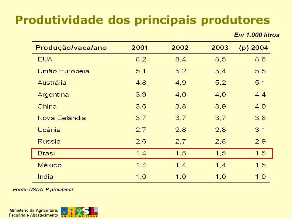 Produtividade dos principais produtores