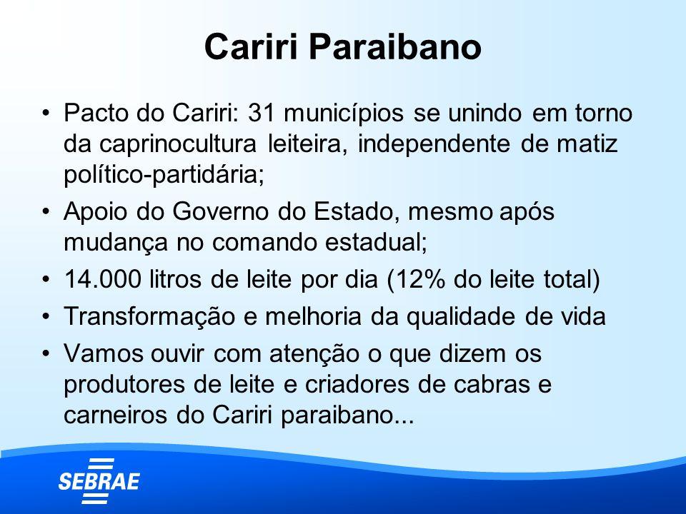 Cariri Paraibano Pacto do Cariri: 31 municípios se unindo em torno da caprinocultura leiteira, independente de matiz político-partidária;