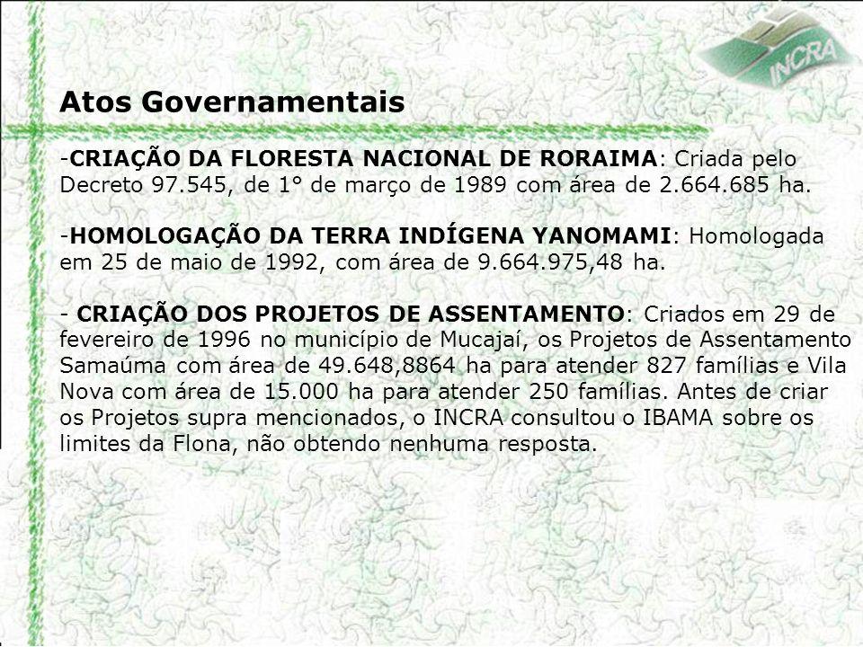 Atos Governamentais CRIAÇÃO DA FLORESTA NACIONAL DE RORAIMA: Criada pelo Decreto 97.545, de 1° de março de 1989 com área de 2.664.685 ha.