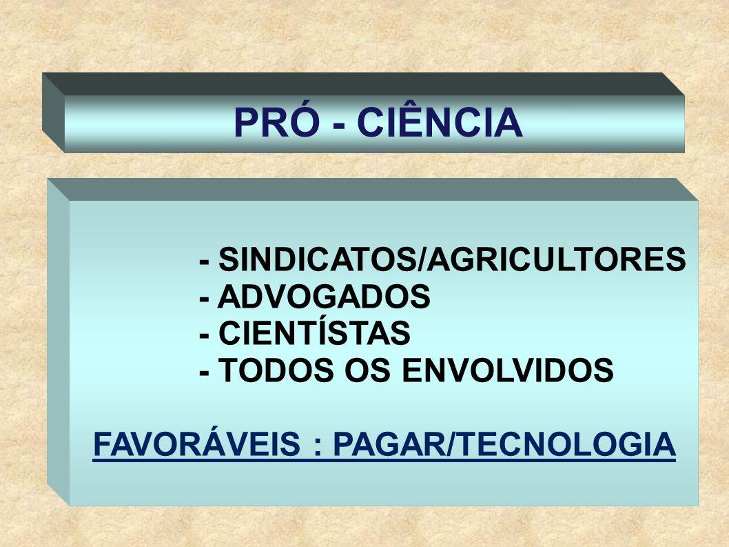 FAVORÁVEIS : PAGAR/TECNOLOGIA