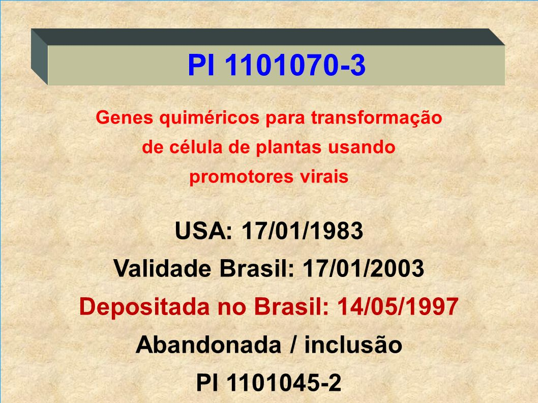 PI 1101070-3 USA: 17/01/1983 Validade Brasil: 17/01/2003