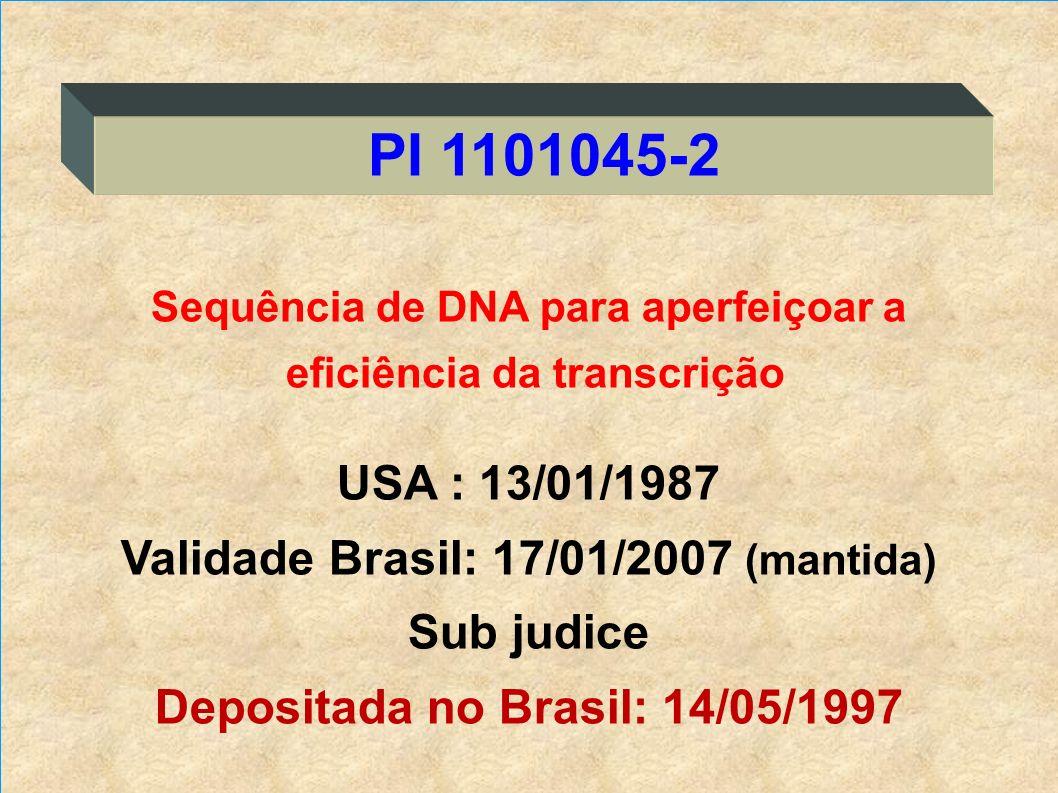 PI 1101045-2 USA : 13/01/1987 Validade Brasil: 17/01/2007 (mantida)