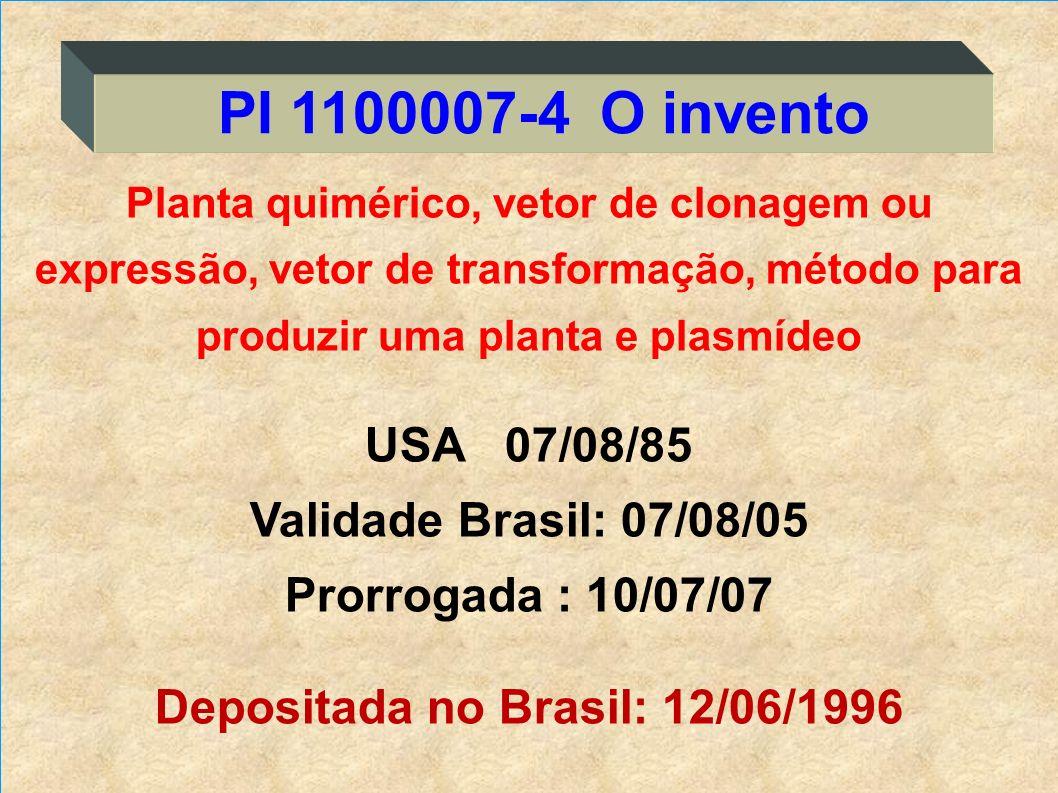 PI 1100007-4 O invento USA 07/08/85 Validade Brasil: 07/08/05