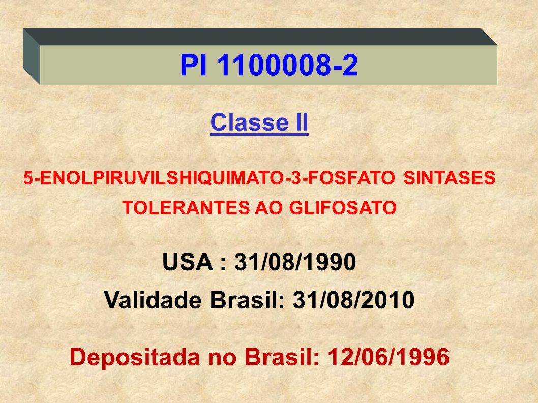 PI 1100008-2 Classe II USA : 31/08/1990 Validade Brasil: 31/08/2010