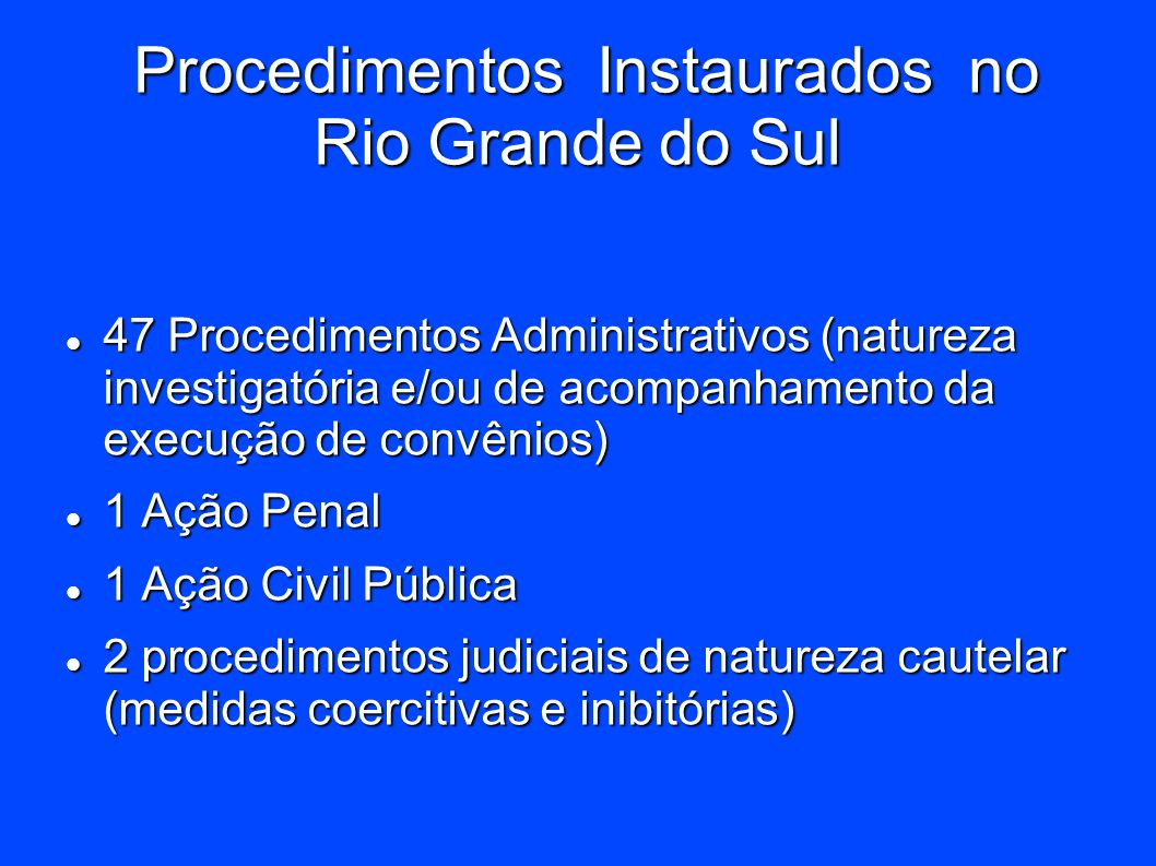 Procedimentos Instaurados no Rio Grande do Sul
