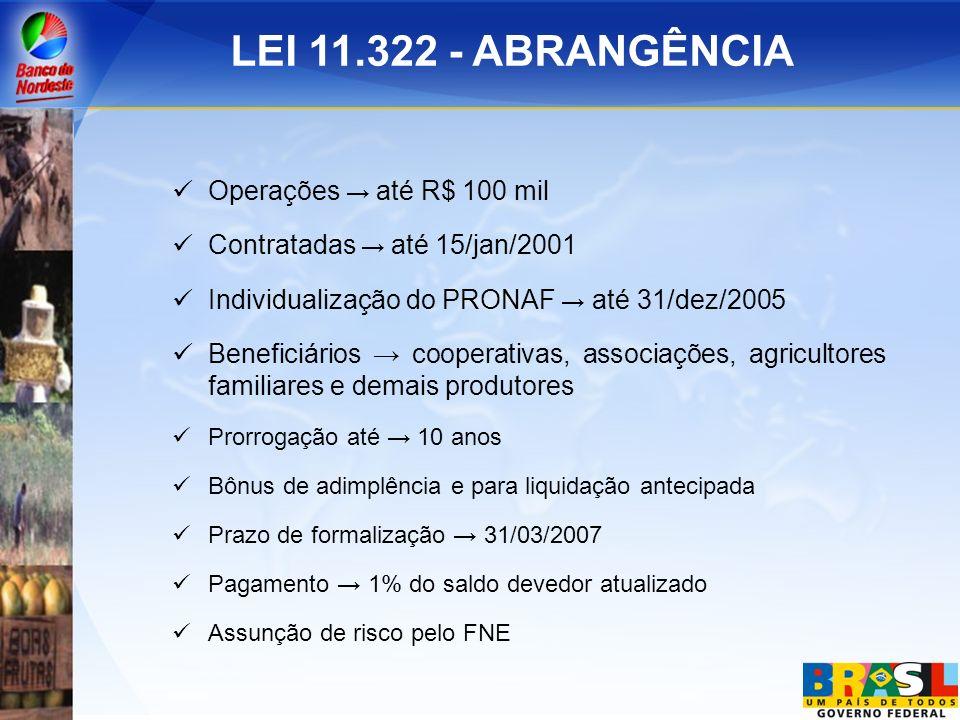 LEI 11.322 - ABRANGÊNCIA Operações → até R$ 100 mil