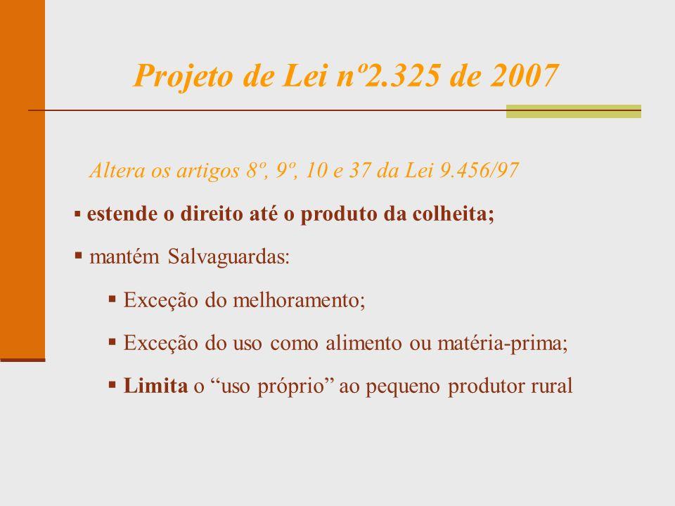 Projeto de Lei nº2.325 de 2007 Altera os artigos 8º, 9º, 10 e 37 da Lei 9.456/97. estende o direito até o produto da colheita;
