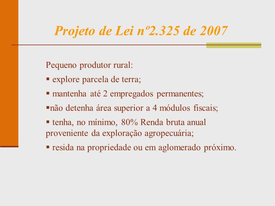 Projeto de Lei nº2.325 de 2007 Pequeno produtor rural: