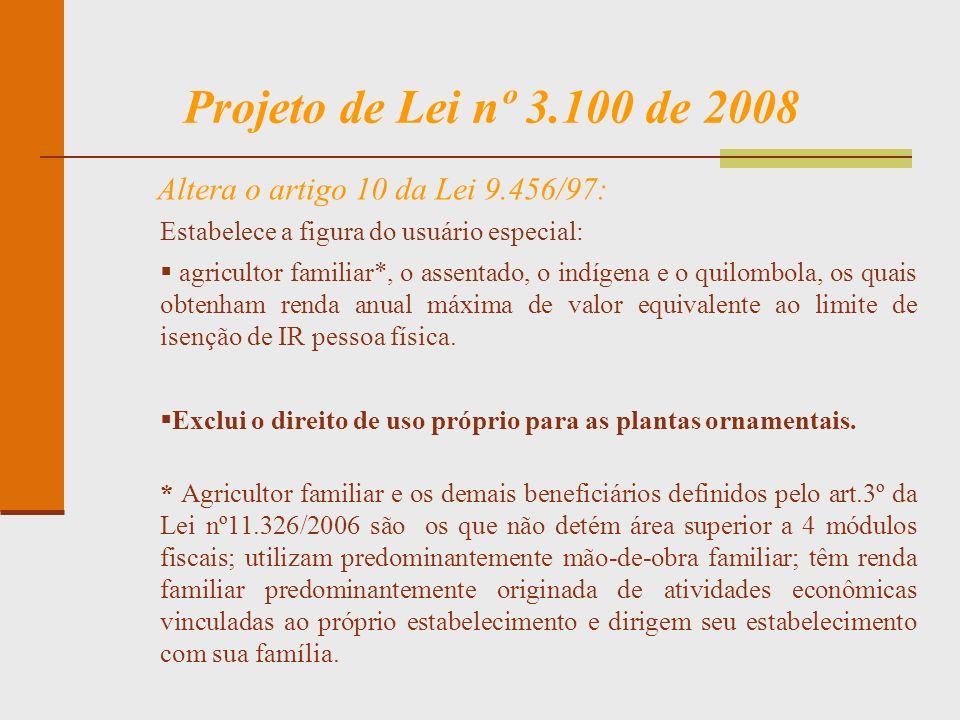 Projeto de Lei nº 3.100 de 2008 Altera o artigo 10 da Lei 9.456/97: