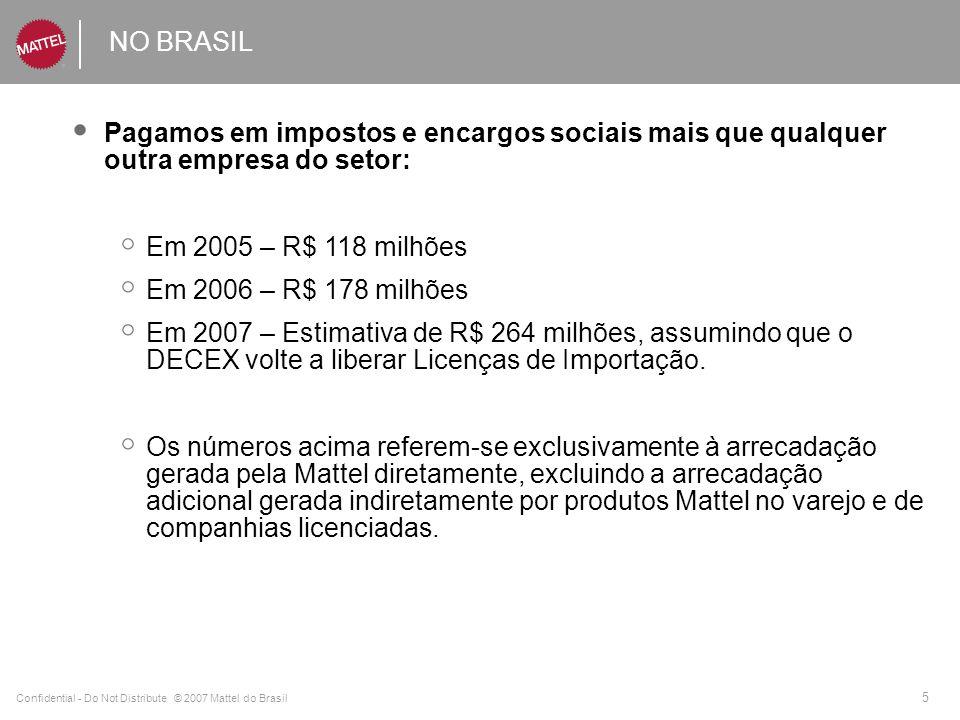 NO BRASIL Pagamos em impostos e encargos sociais mais que qualquer outra empresa do setor: Em 2005 – R$ 118 milhões.