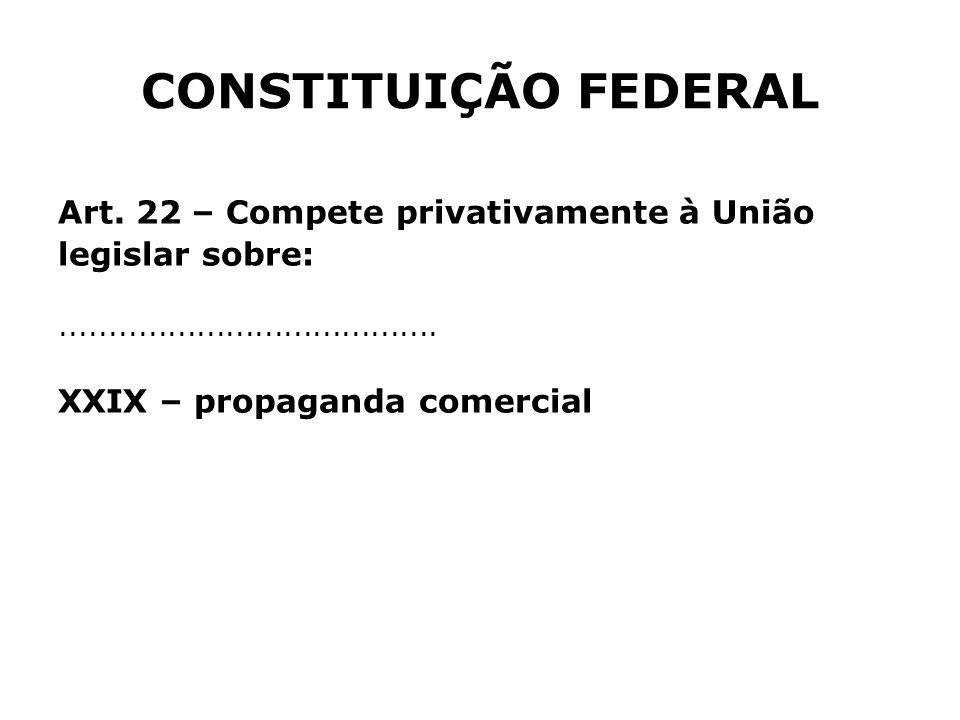 CONSTITUIÇÃO FEDERAL Art. 22 – Compete privativamente à União
