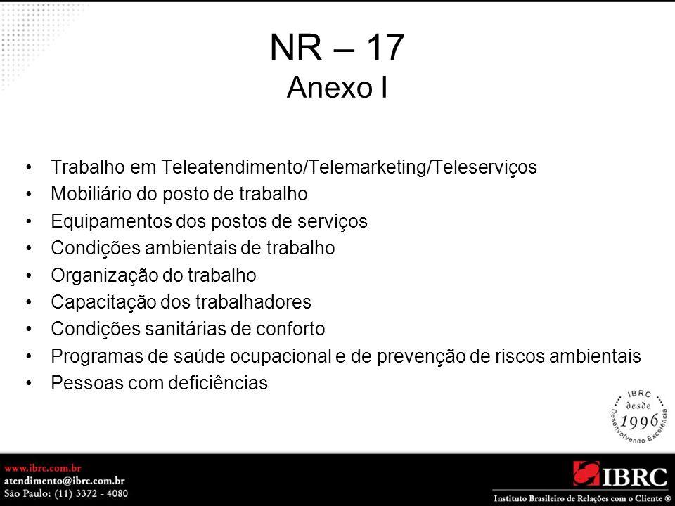 NR – 17 Anexo I Trabalho em Teleatendimento/Telemarketing/Teleserviços