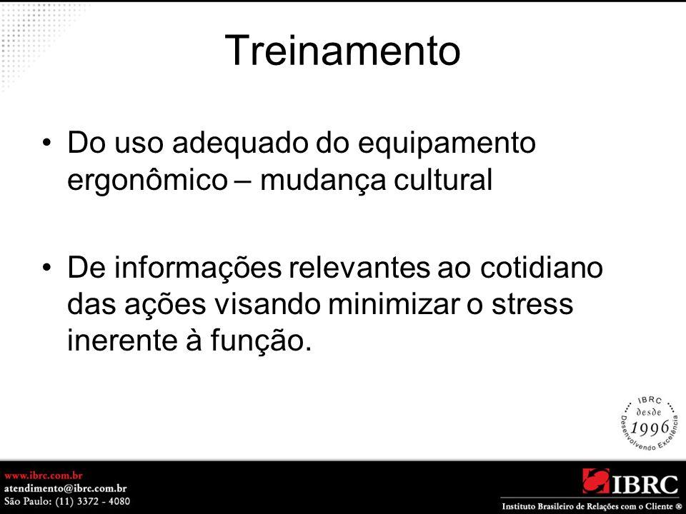 Treinamento Do uso adequado do equipamento ergonômico – mudança cultural.