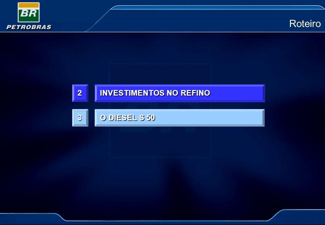 Roteiro 2 INVESTIMENTOS NO REFINO 3 O DIESEL S 50