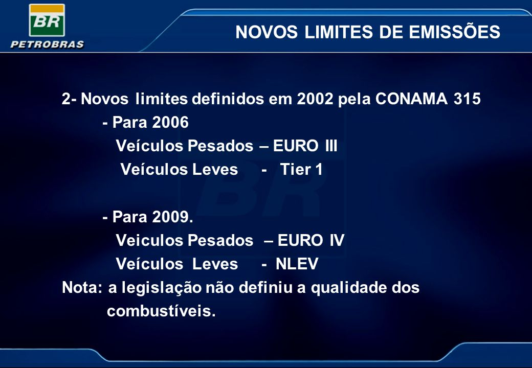 NOVOS LIMITES DE EMISSÕES