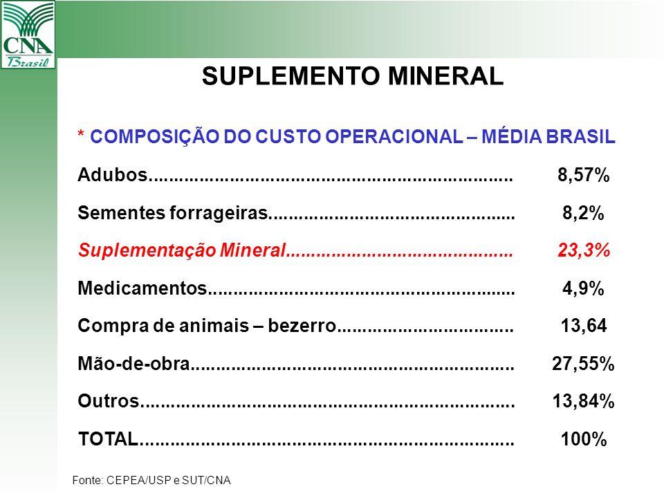 SUPLEMENTO MINERAL * COMPOSIÇÃO DO CUSTO OPERACIONAL – MÉDIA BRASIL