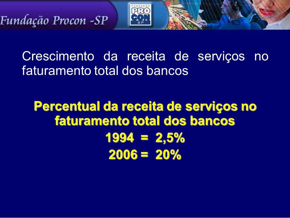 Crescimento da receita de serviços no faturamento total dos bancos