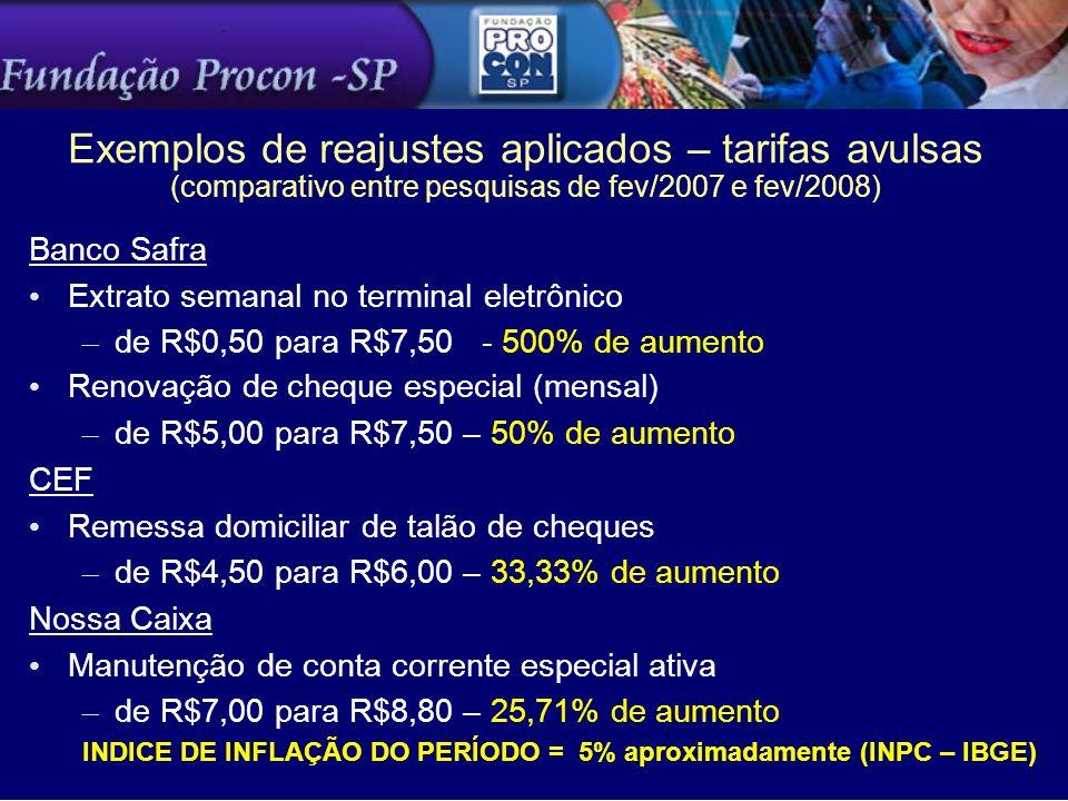 Exemplos de reajustes aplicados – tarifas avulsas (comparativo entre pesquisas de fev/2007 e fev/2008)