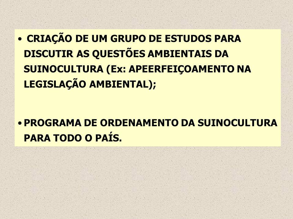 CRIAÇÃO DE UM GRUPO DE ESTUDOS PARA DISCUTIR AS QUESTÕES AMBIENTAIS DA SUINOCULTURA (Ex: APEERFEIÇOAMENTO NA LEGISLAÇÃO AMBIENTAL);