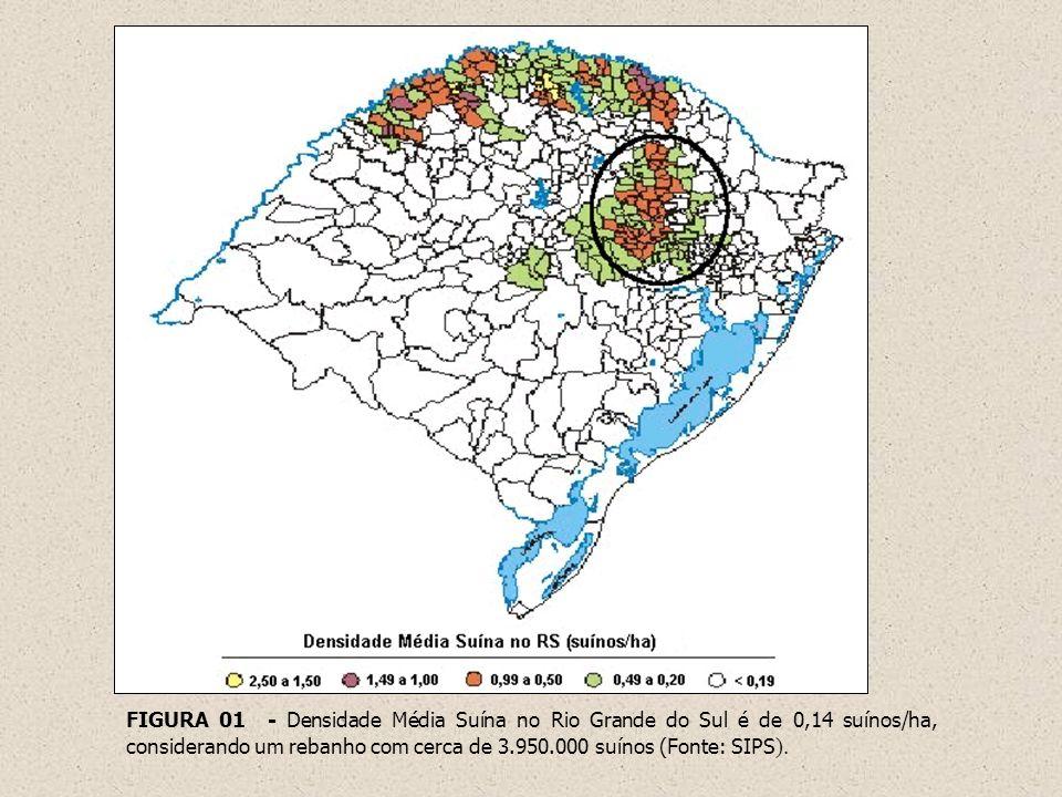 FIGURA 01 - Densidade Média Suína no Rio Grande do Sul é de 0,14 suínos/ha, considerando um rebanho com cerca de 3.950.000 suínos (Fonte: SIPS).