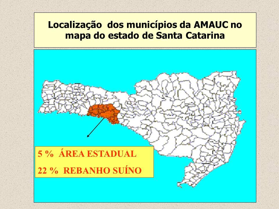 Localização dos municípios da AMAUC no mapa do estado de Santa Catarina