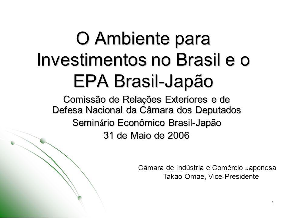 O Ambiente para Investimentos no Brasil e o EPA Brasil-Japão
