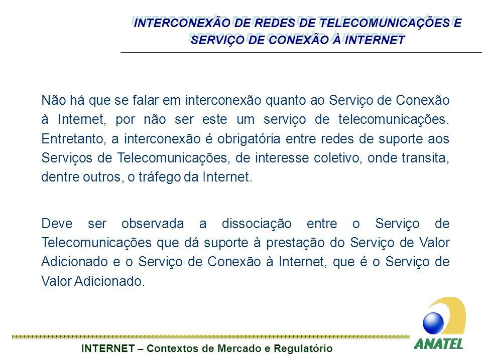INTERCONEXÃO DE REDES DE TELECOMUNICAÇÕES E SERVIÇO DE CONEXÃO À INTERNET
