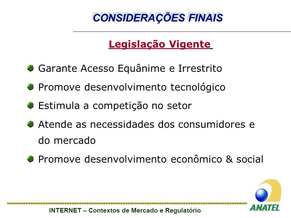 CONSIDERAÇÕES FINAIS Legislação Vigente